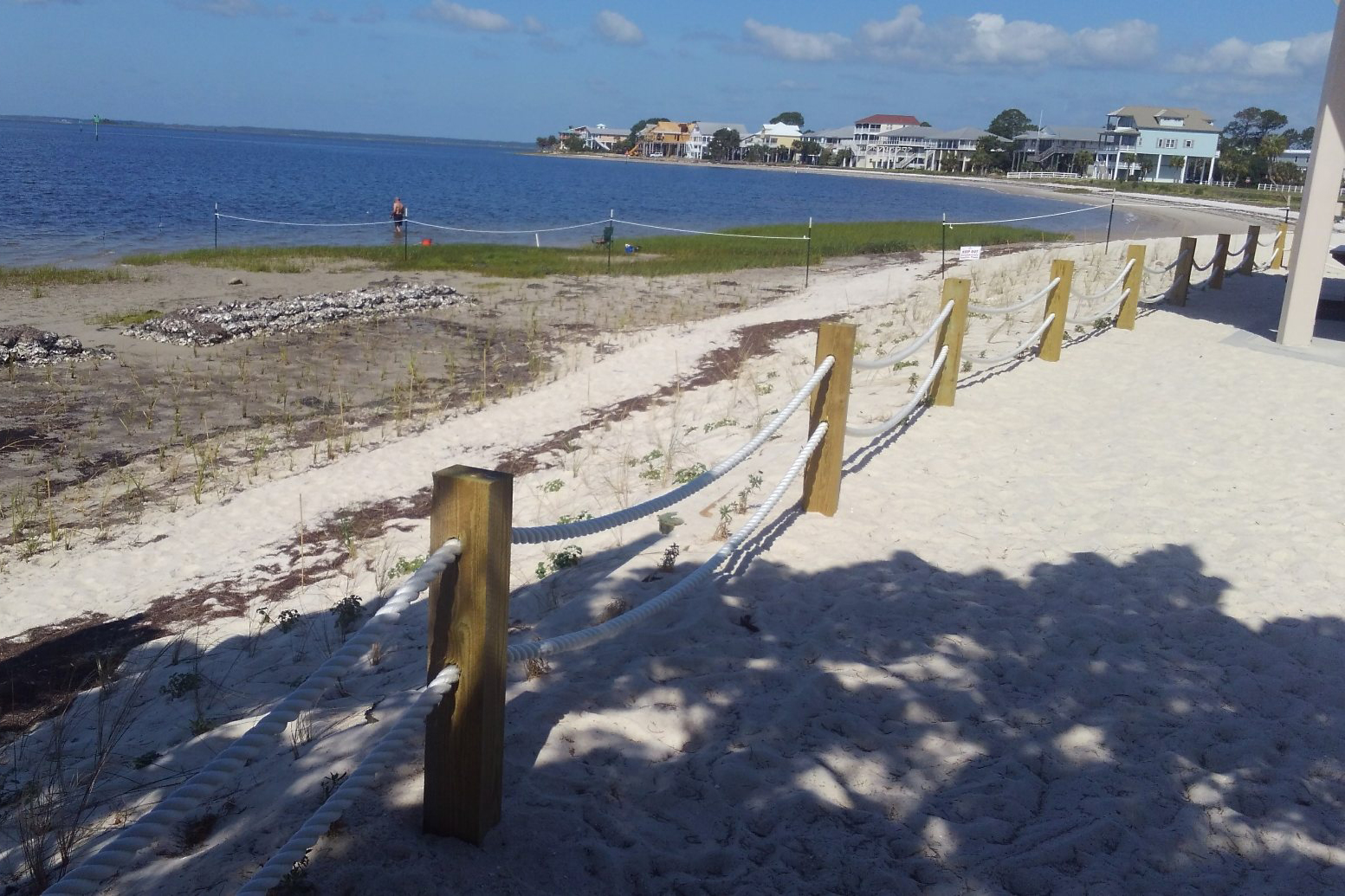 Many aspects of the restored Shell Point Beach include coastal vegetation, sand re-nourishment and public amenities.