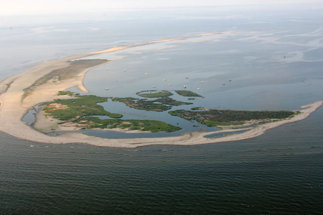 Aerial view of a barrier island.