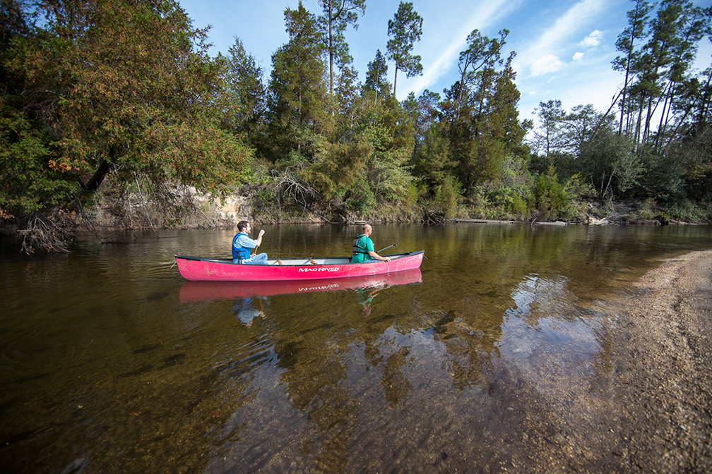 Canoers paddling along the Perdido River in Alabama.