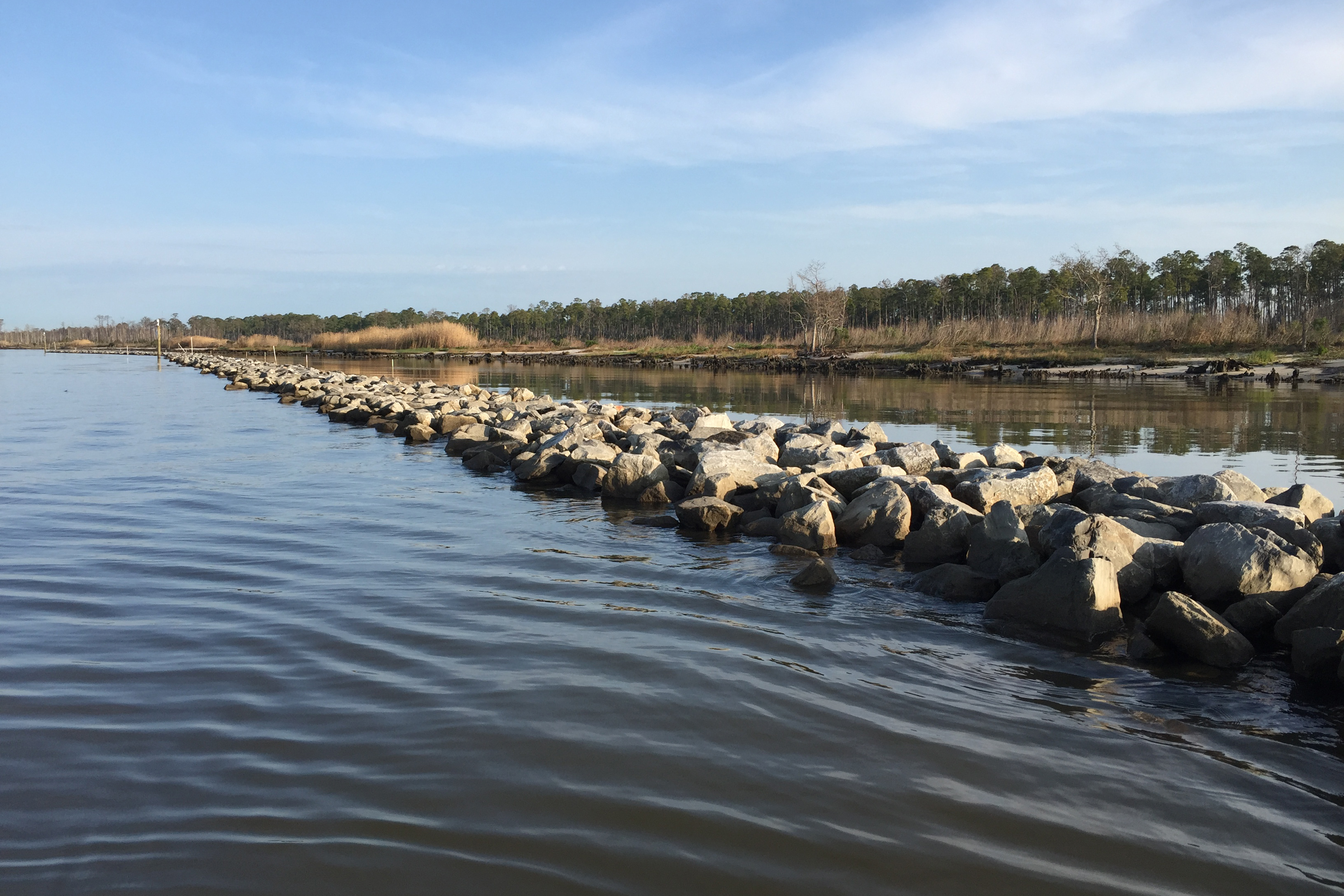 A line of rocks protecting marsh and upland habitat on the Gulf Coast in Alabama.
