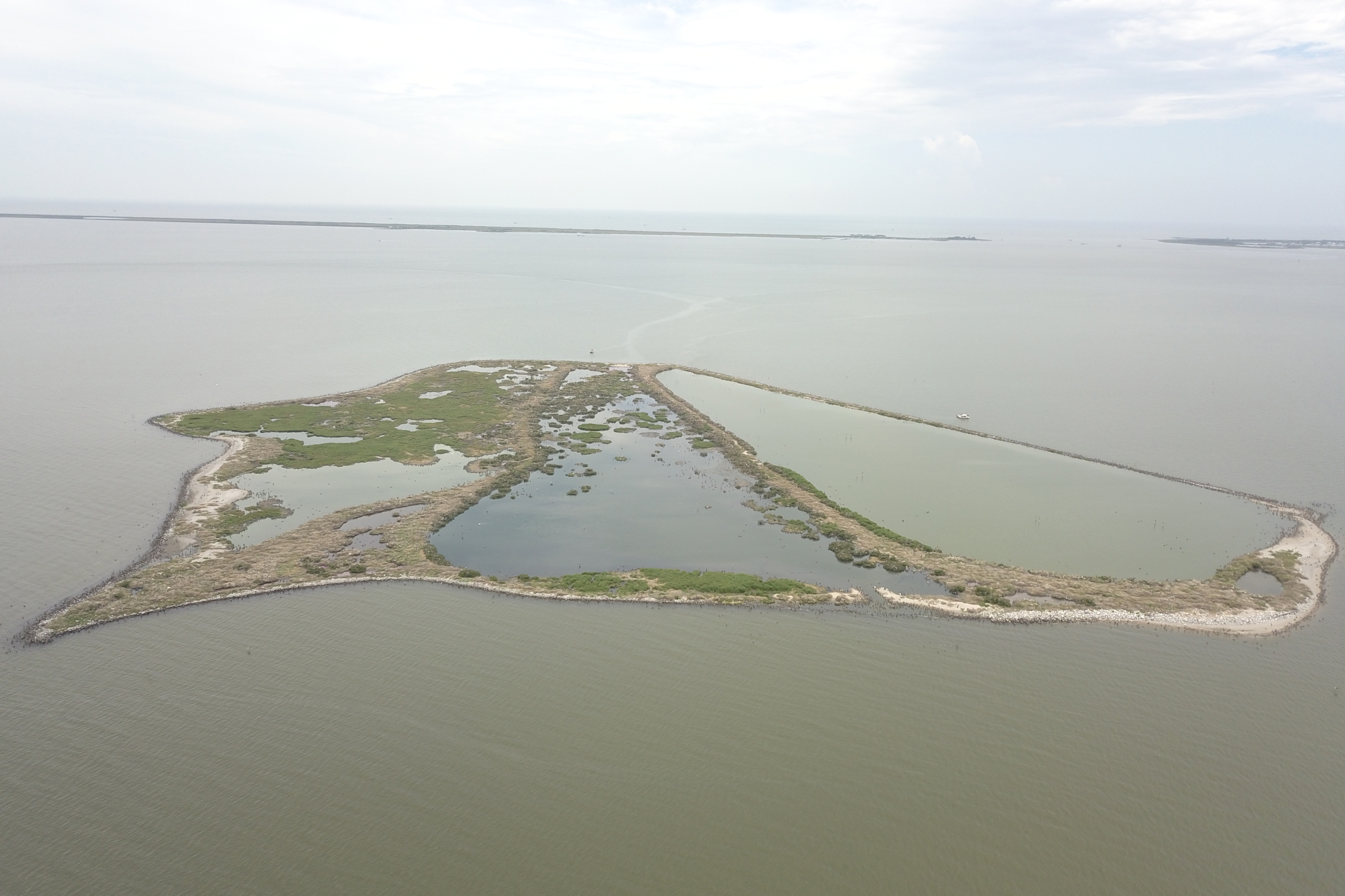 An aerial photo of Queen Bess Island in Louisiana.