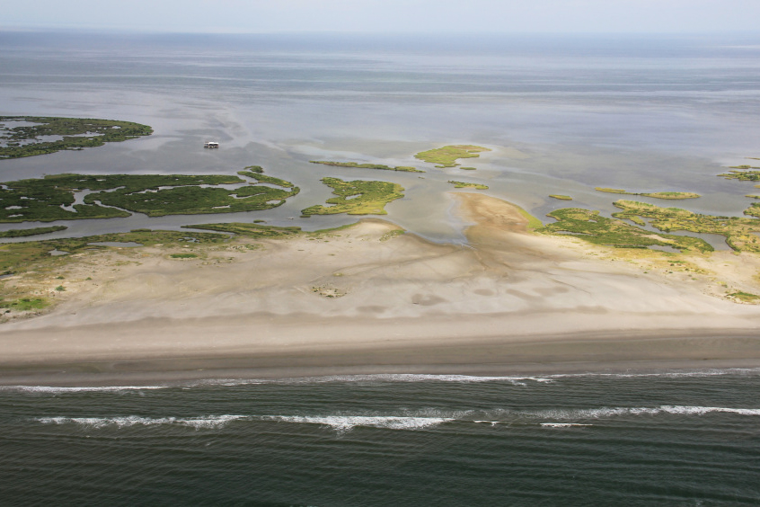 Aerial view of a Louisiana barrier island.