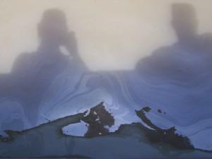 Sheen from oiled marsha in Barataria Bay.